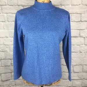 KAREN SCOTT Blue Mock Neck Ribbed Knit Sweater